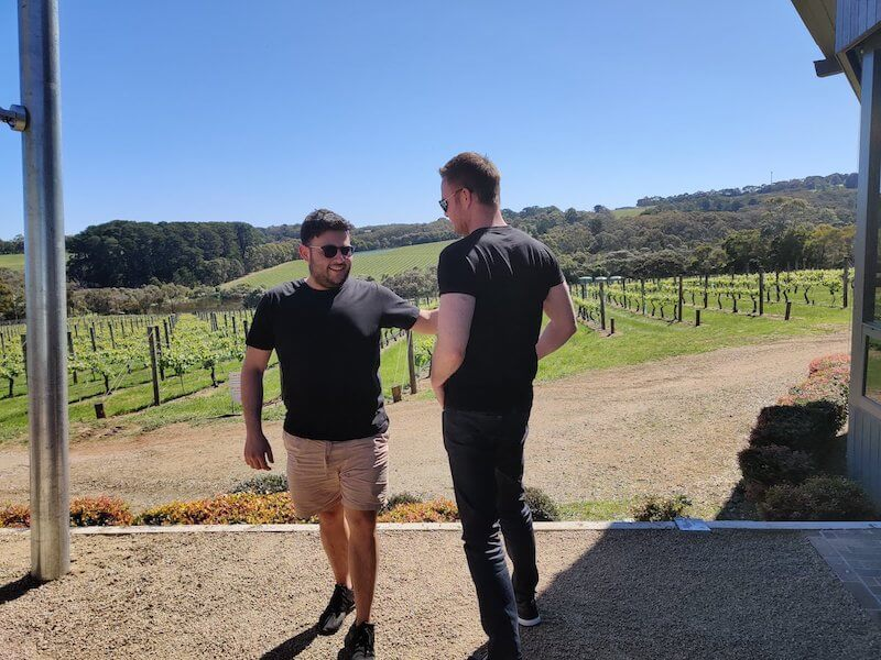 Eric and Sven admiring the view at a vineyard in Australia