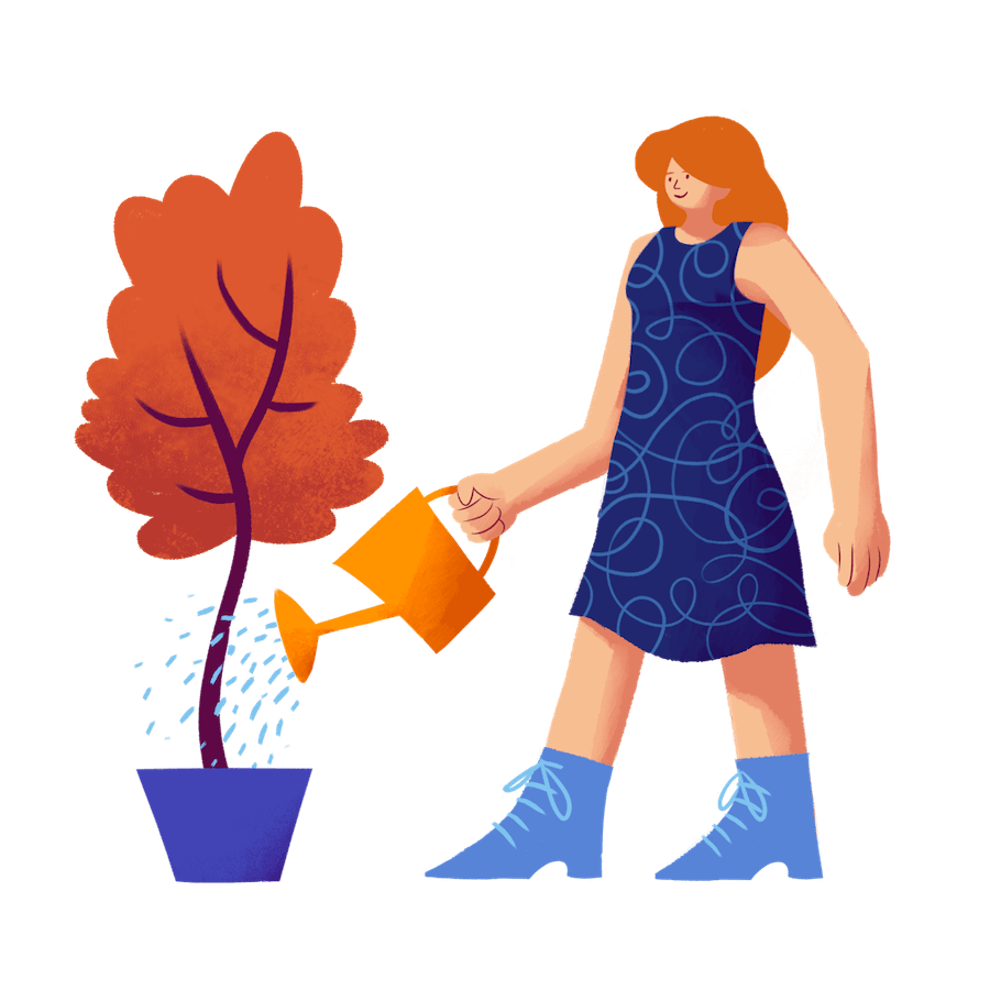 Woman water plant illustration