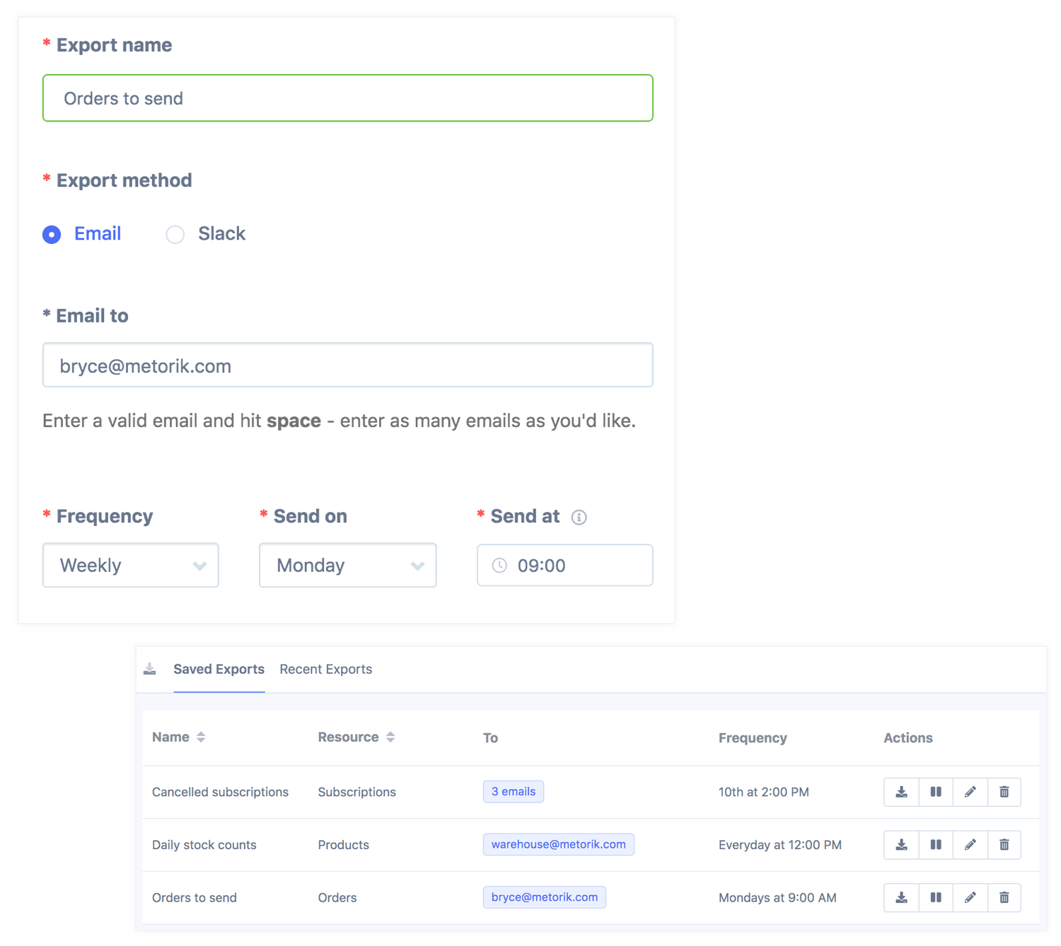 Save time with automatic recurring exports