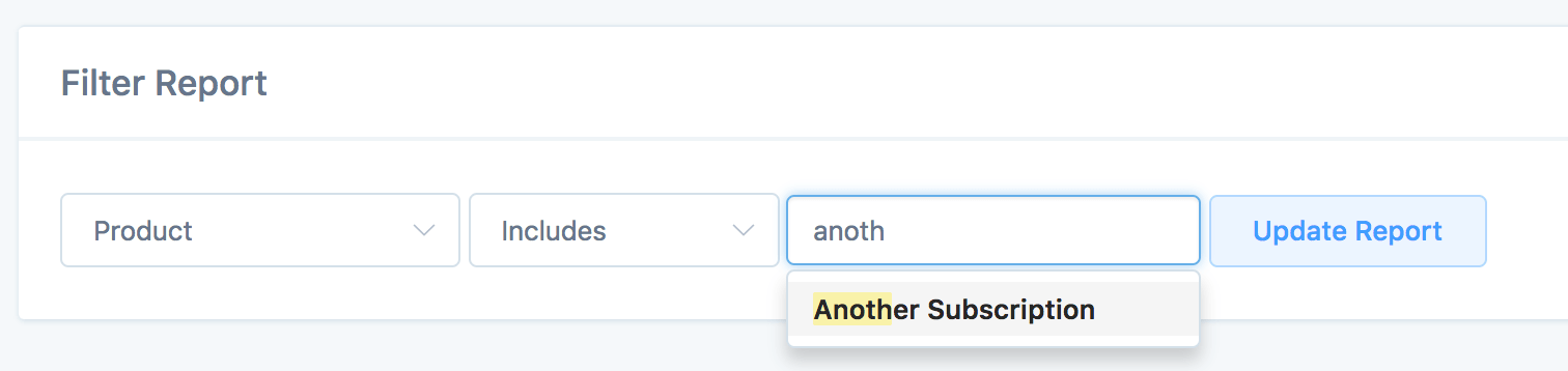 Subscriptions report filters